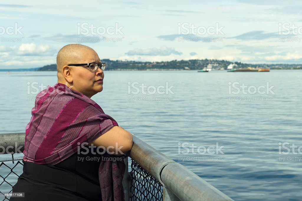 Woman Reflects Upon Medical Condition stock photo