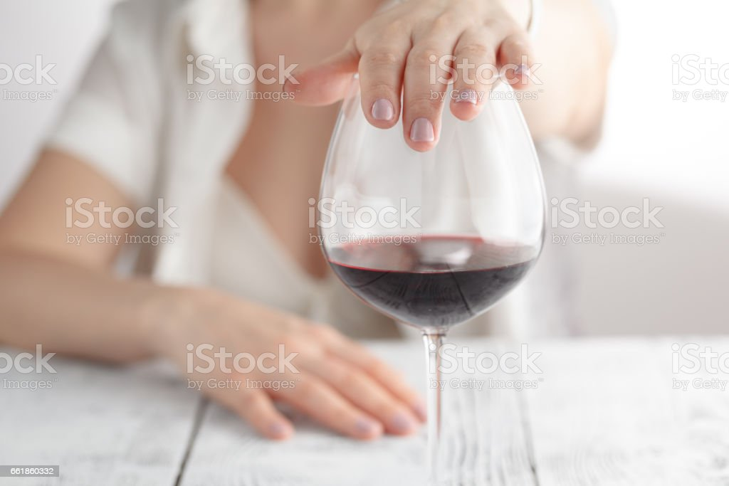 woman refused a glass of wine – Foto