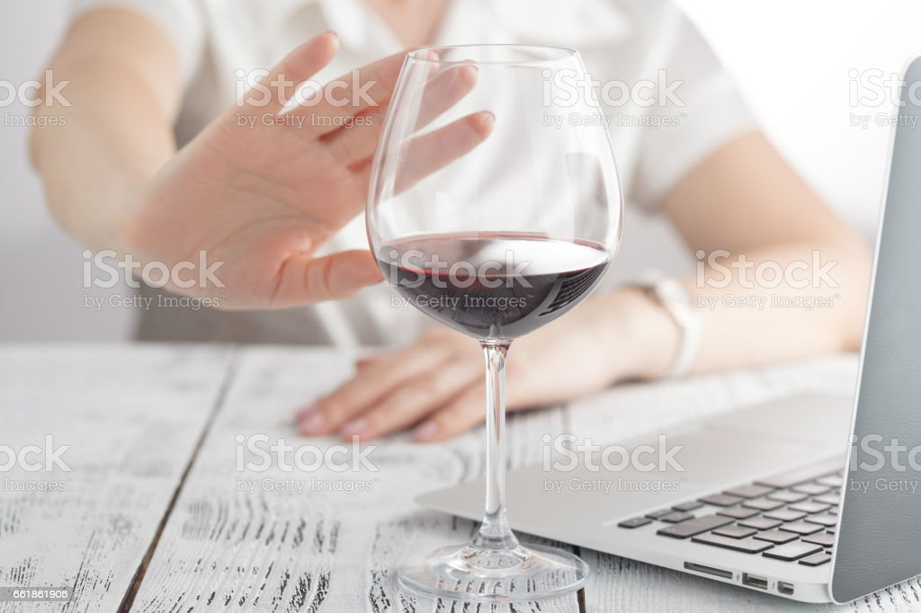 woman refuses to drink a wine – Foto