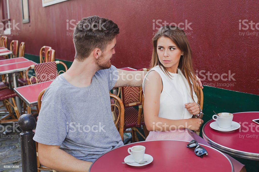 Woman rejecting hugs of man stock photo