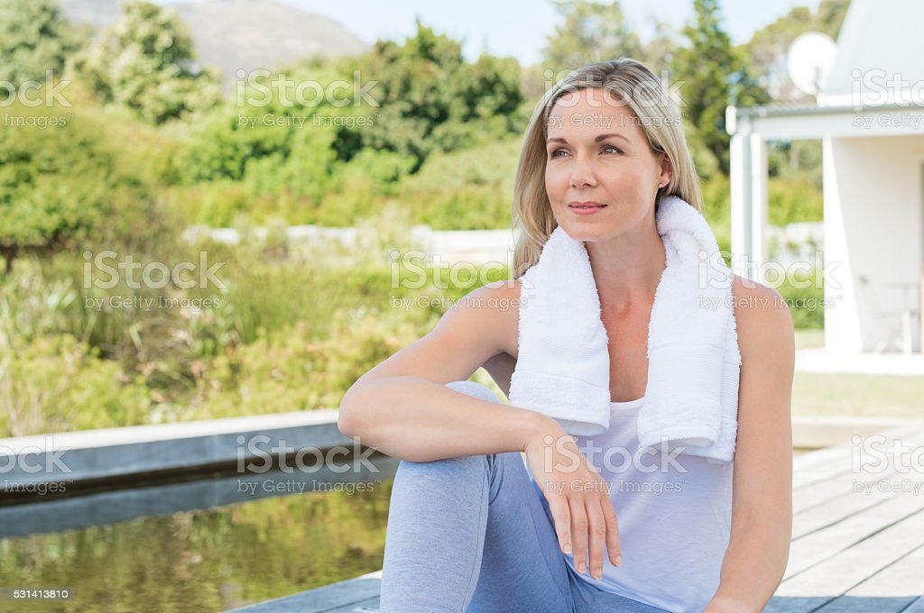 Woman relax after exercise stock photo