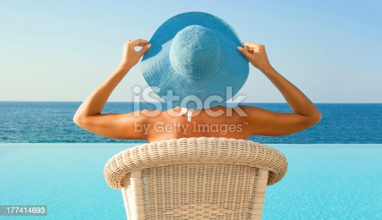istock Woman relax near infinity pool in sunny day 177414693