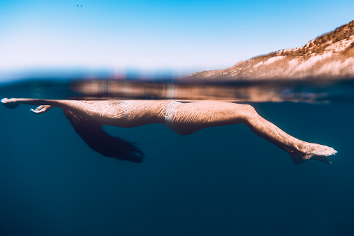 888067280 istock photo Woman relaxed in ocean, underwater photo. Blue ocean in Bali 855188054