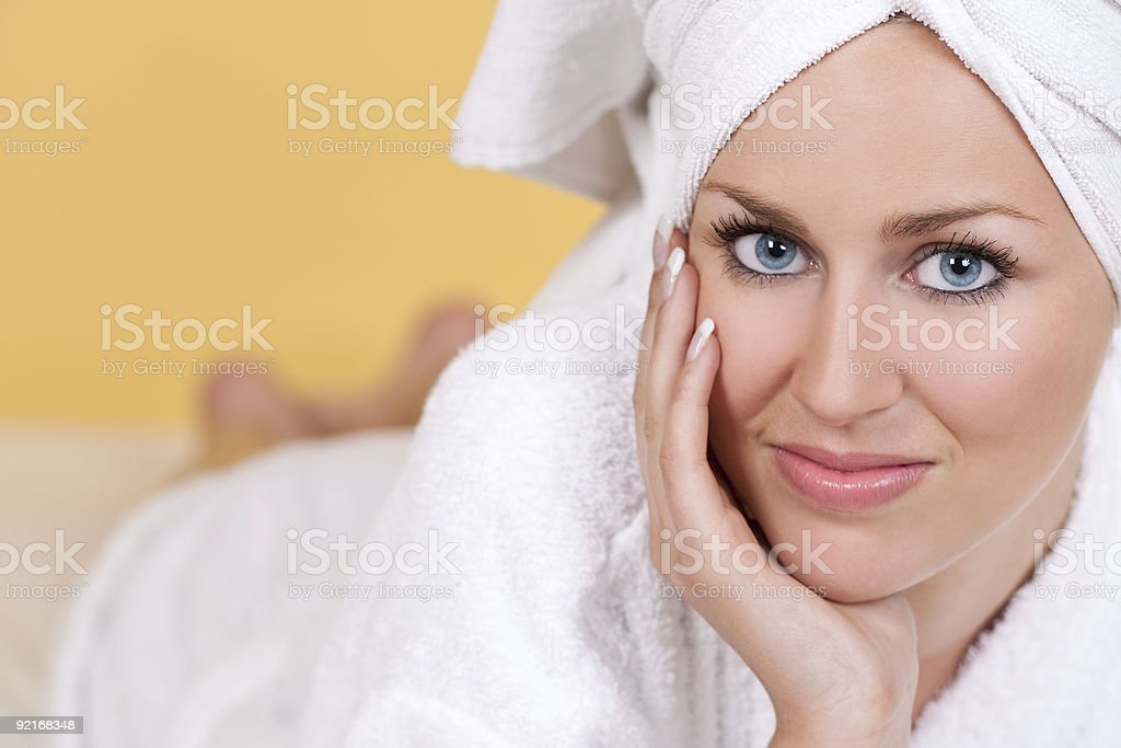 Woman Relaxing and Waiting For A Spa Treatment royalty-free stock photo