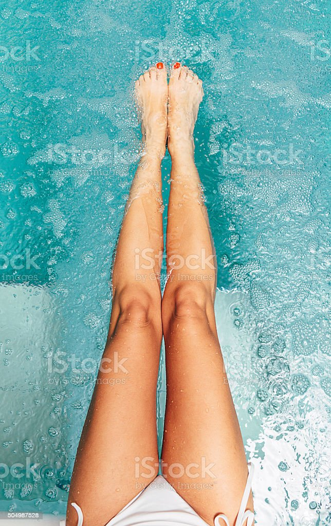 Woman Relaxing Her Body And Legs In Hot Tub Jacuzzi Stock Photo ...