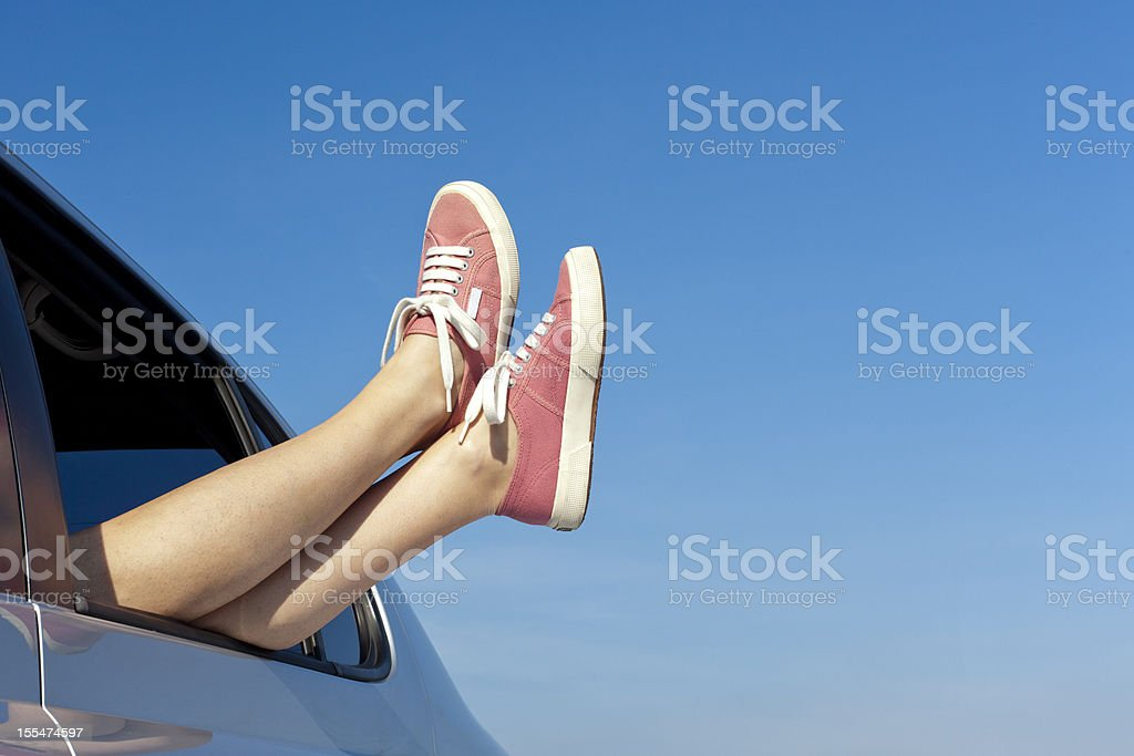 Woman relaxing in her car royalty-free stock photo