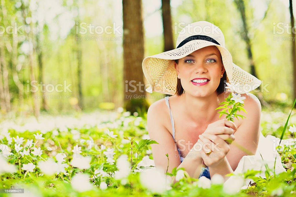 Woman relaxing in nature royalty-free stock photo