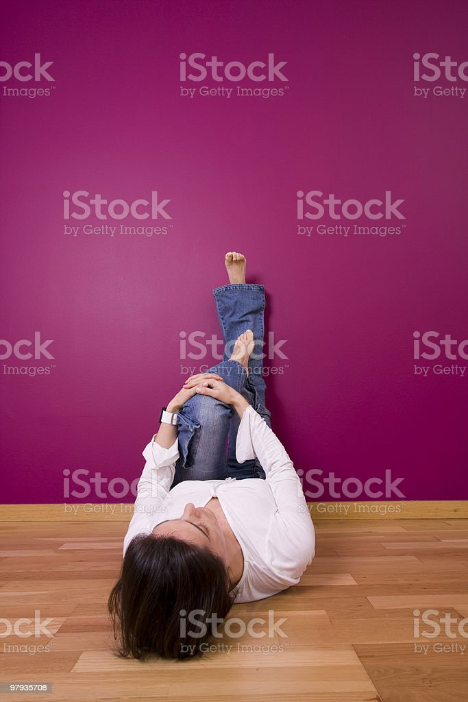 woman relaxing in the floor royalty-free stock photo