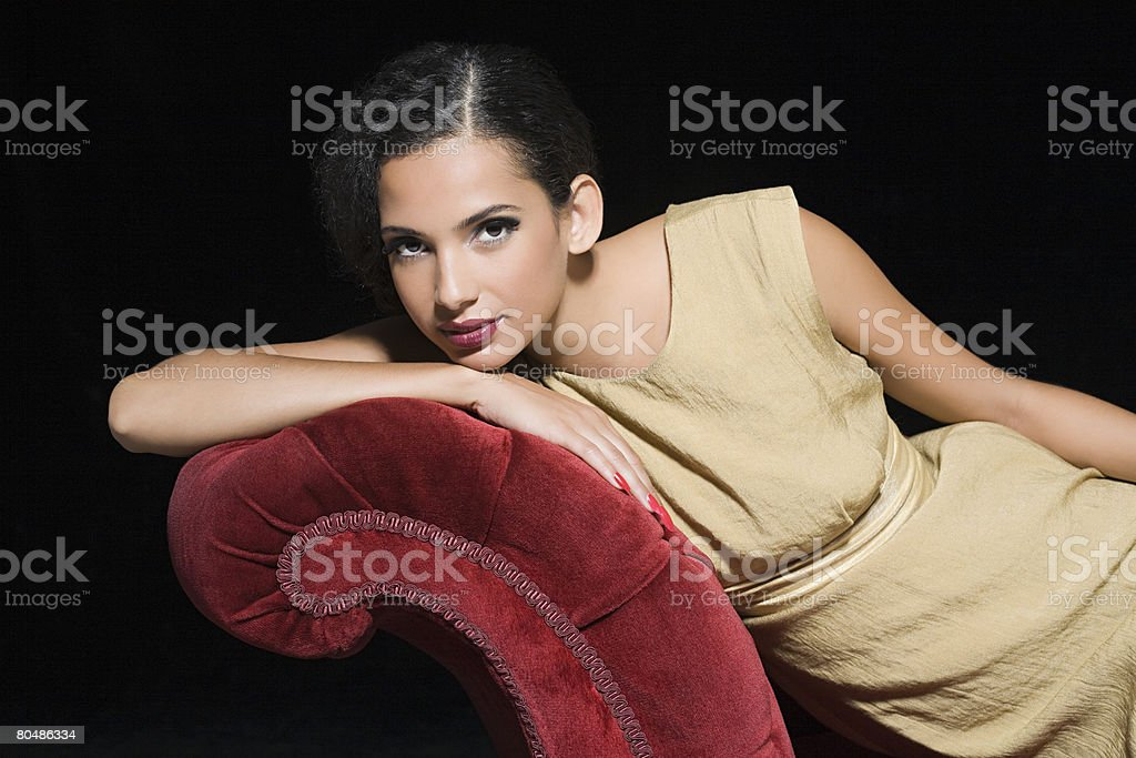 Woman relaxing on a chez longue royalty-free 스톡 사진