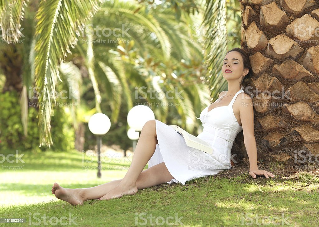 Woman relaxing on a summer day royalty-free stock photo