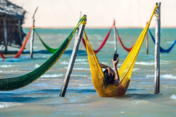 Woman relaxing on hammock, Jericoacoara, Brazil – Foto