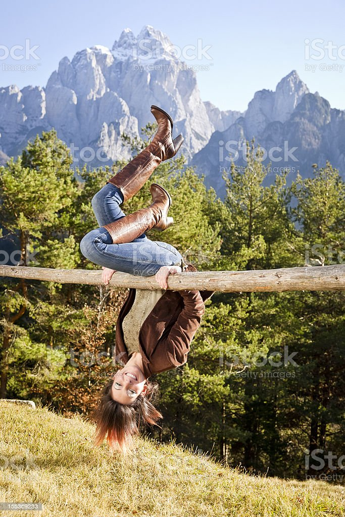 Woman relaxing on Mountains royalty-free stock photo