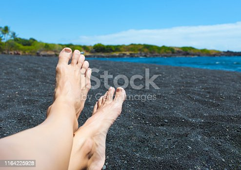 910785546 istock photo Woman relaxing on the beach 1164225928