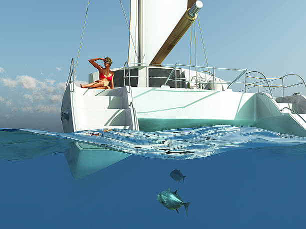 woman relaxing on yacht - katamaran bildbanksfoton och bilder