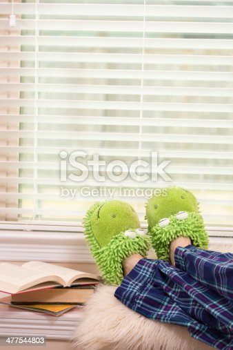 Woman or teenage girl relaxing at home in her flannel pajamas and froggie slippers.  She is reading novels which are stacked in bedroom window seat. Homework or leisure reading.