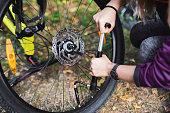 istock Woman repairing bicycle in nature. 1173587349