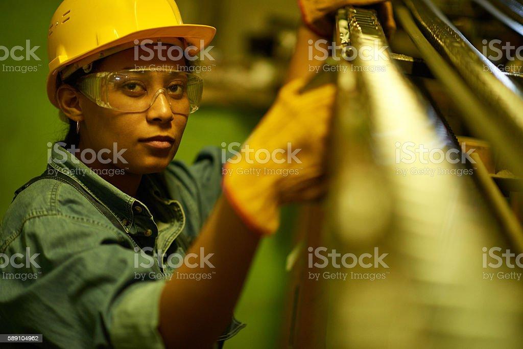 Woman repairman stock photo