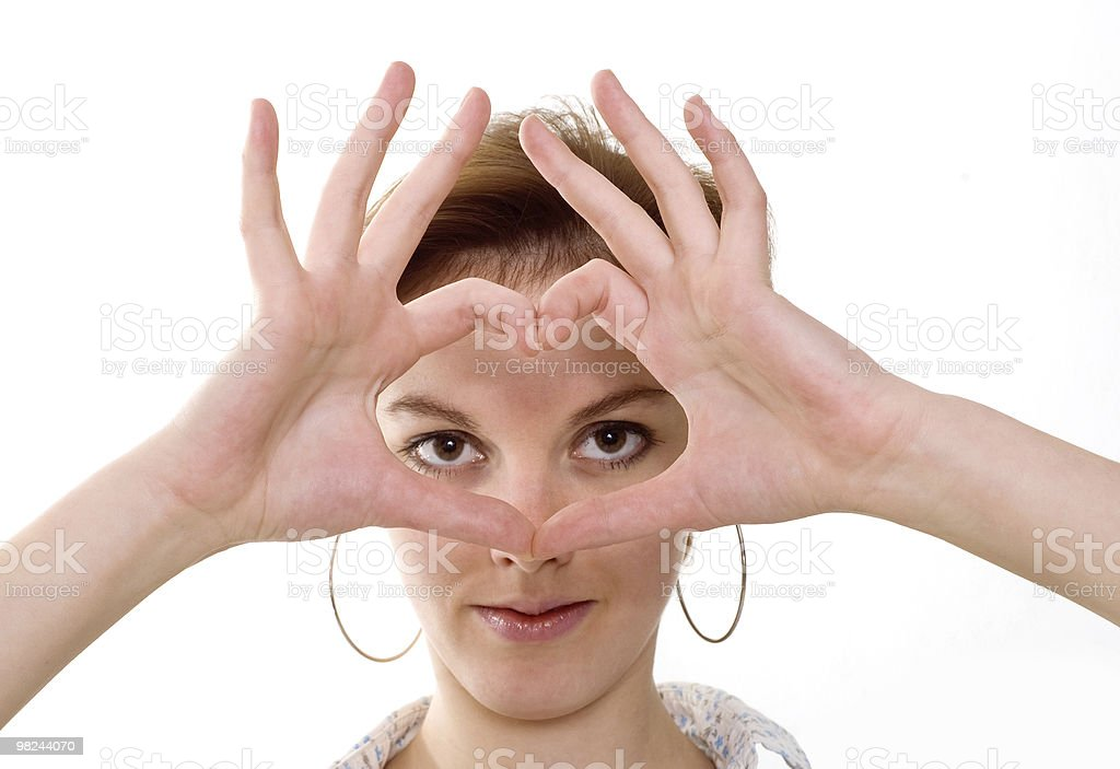 woman represents symbol of heart hands royalty-free stock photo