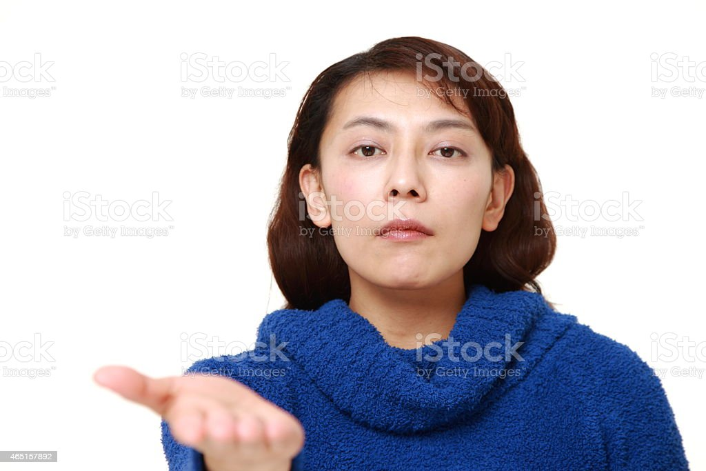 woman requests something stock photo