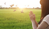 istock Woman respect and pray on nature background 599780698