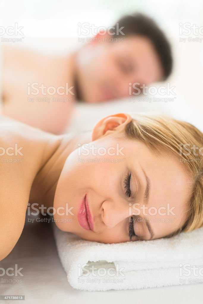 Woman Resting On Massage Table At Spa royalty-free stock photo