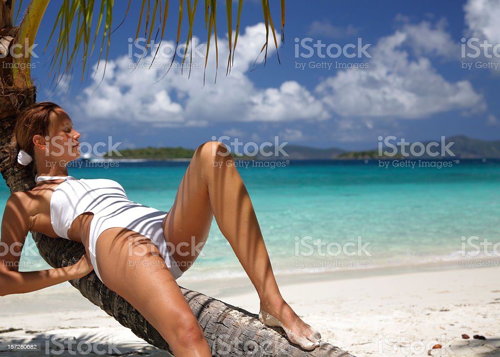 woman resting on palm royalty-free stock photo