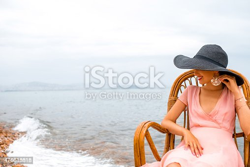 istock Woman resting on the beach 476618818