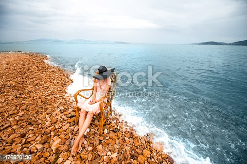 istock Woman resting on the beach 476620136