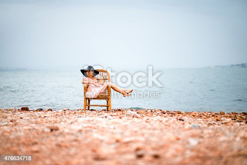 476618818 istock photo Woman resting on the beach 476634718