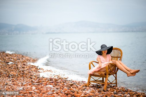 476618818 istock photo Woman resting on the beach 476634728