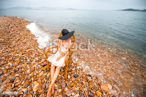 476618818 istock photo Woman resting on the beach 476635190
