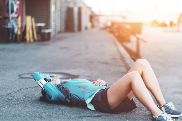Woman resting, sport and workout stock photo