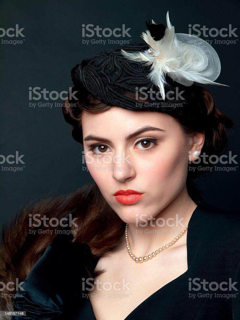 Woman retro portrait stock photo