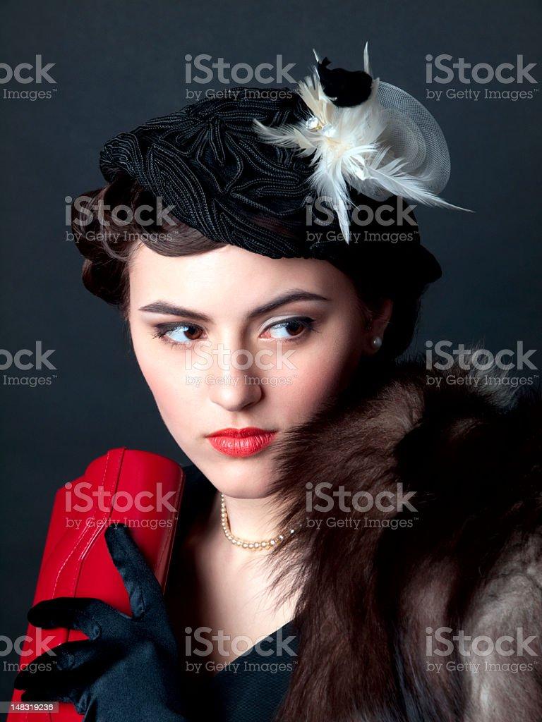 Woman retro portrait. royalty-free stock photo