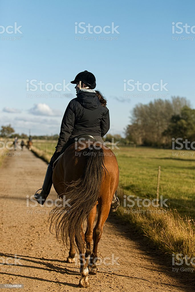 Woman rides a horse on a small road royalty-free stock photo