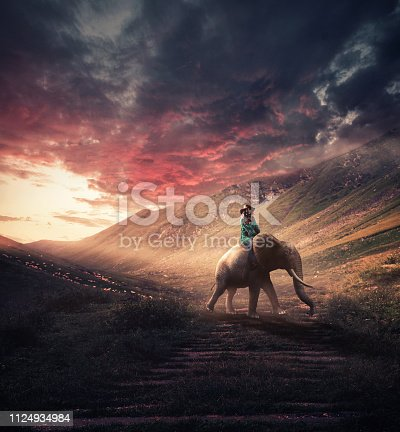 Woman rides an elephant on the mountains at sunset.