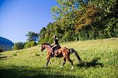 Woman Riding a Horse Outdoors