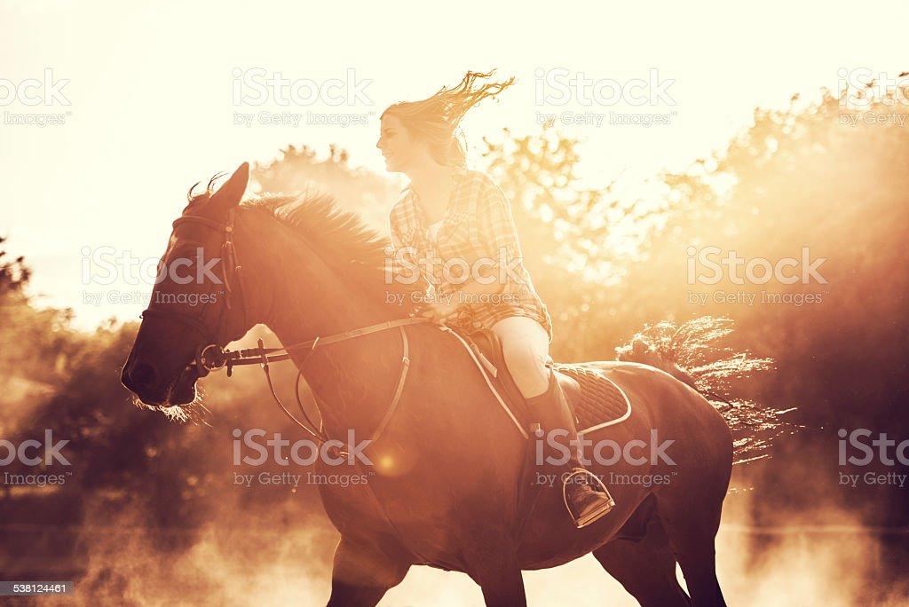 Woman riding a stallion outdoors. stock photo