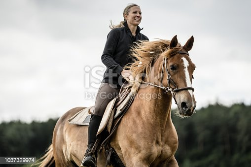 woman riding on horseback - very shallow focus on mane of the horse