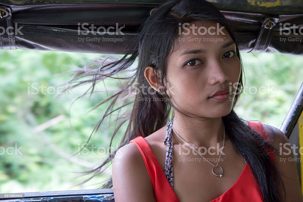 woman riding in a pick up stock photo
