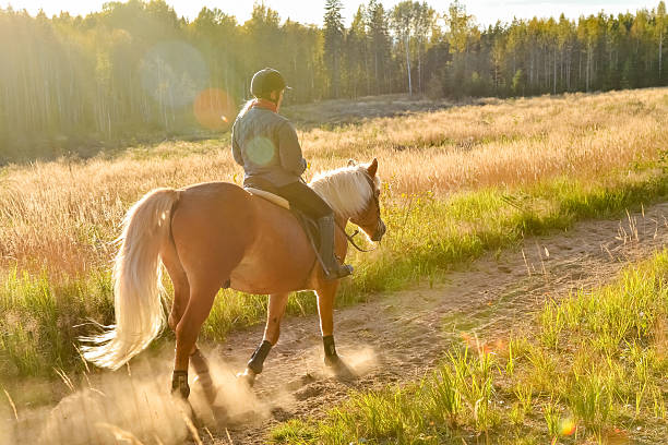 Woman riding on country road stock photo