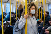 istock Woman riding on the metro wearing a facemask to avoid an infectious disease 1265082017