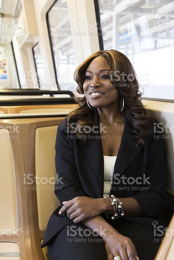 Woman Riding the Train royalty-free stock photo