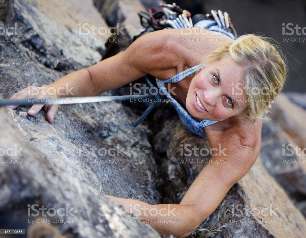 Woman Rock Climber royalty-free stock photo