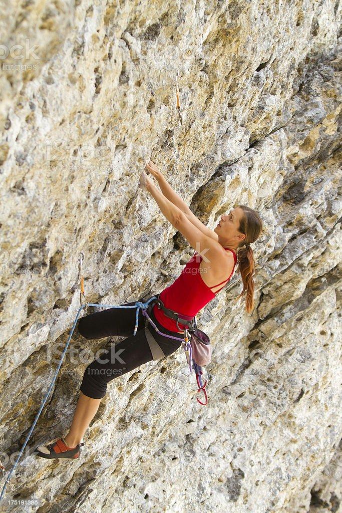 Woman Rock Climbing, Grassi Lakes, Canada royalty-free stock photo
