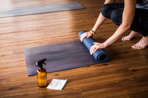 Yoga training concept during covid-19 in indoor studio.