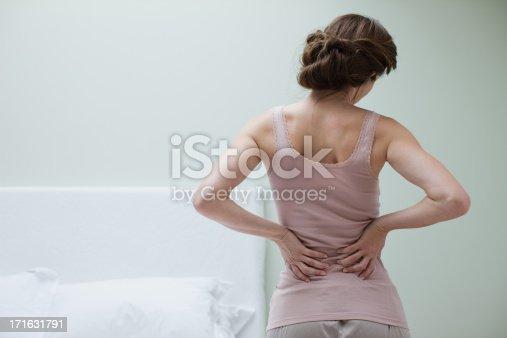 istock Woman rubbing aching back 171631791