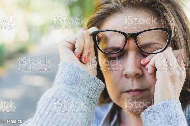 Woman rubbing her eye outdoors picture id1180596176?b=1&k=6&m=1180596176&s=612x612&h=ova08nnfoizqlach5p8wd8 4nacckwlqxj7wlmlayxi=
