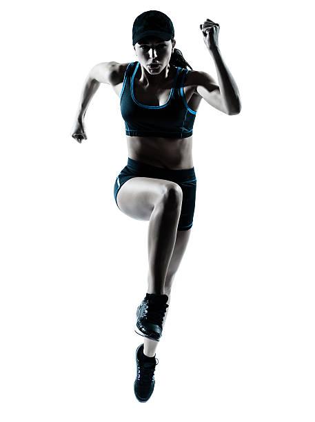 Corredor de mujer salto impulsor - foto de stock