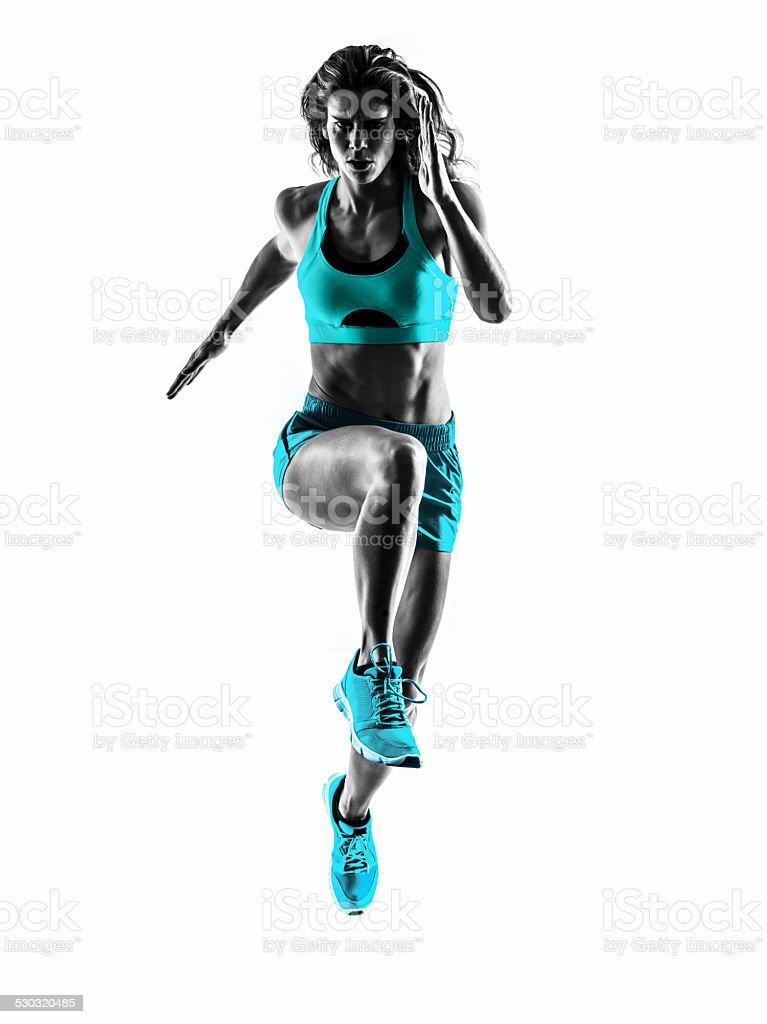 woman runner running jogger jogging silhouette stock photo